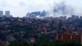 Gökdelen inşaatında yangın paniği