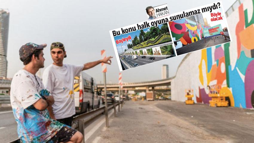 İstanbul'un yol kıyısındaki duvarların renklendirilmesi için referandum isteği
